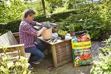 Floragard Blumenerde 70 L + 10 L gratis • Universalerde • für  Balkon-, Kübel- und Zimmerpflanzen • mit dem Naturdünger Guano • 80 L - 2