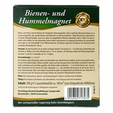Quedlinburger Hummelmagnet Saatgut für 100 qm Bienenwiese, einjährige Bienen Blumenmischung - 2